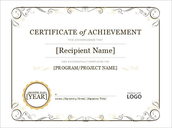 Certificate Of Achievement Template Word Word Certificate Template 49 Free Download Samples