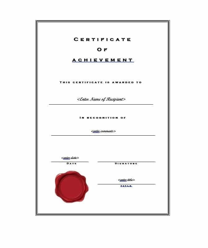 Certificate Of Achievement Word Template 40 Great Certificate Of Achievement Templates Free