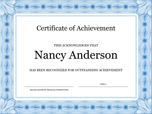 Certificate Of Achievement Word Template Certificate Of Achievement Blue Templates Fice