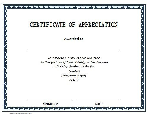 Certificate Of Appreciation Template 31 Free Certificate Of Appreciation Templates and Letters