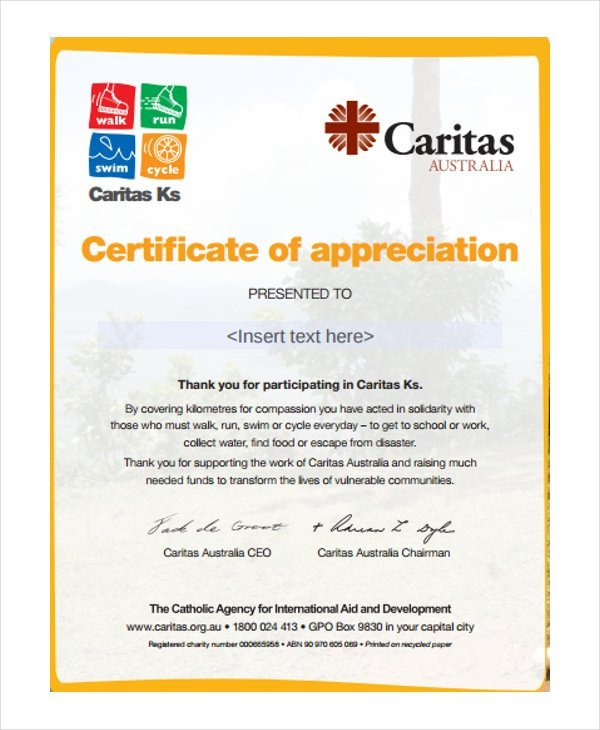 Certificate Of Appreciation Template 37 Certificate Of Appreciation Templates Pdf Docs