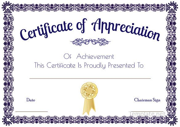 Certificate Of Appreciation Template Certificate Template – 41 Free Printable Word Excel Pdf