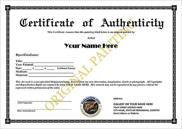 Certificate Of Authenticity Autograph Template 16 Sample Certificate Of Authenticity Documents In Pdf Psd