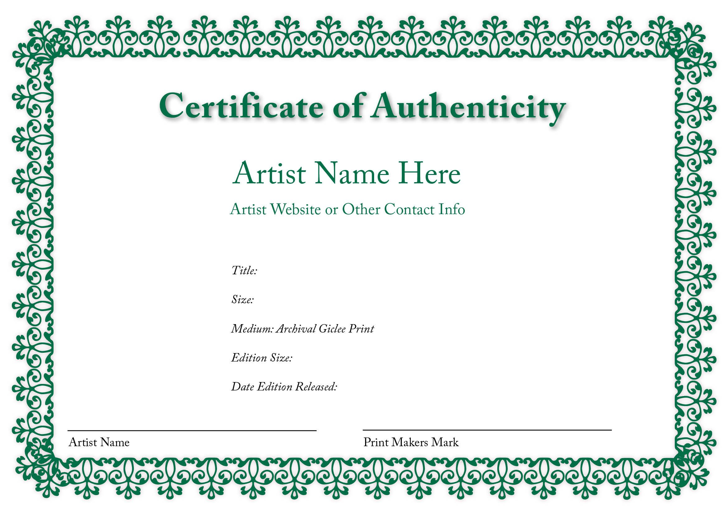 Certificate Of Authenticity Autograph Template Blank Certificates Of Authenticity