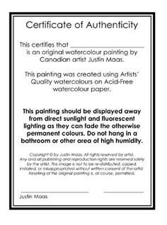 Certificate Of Authenticity Autograph Template Certificate Of Authenticity Of A Fine Art Print