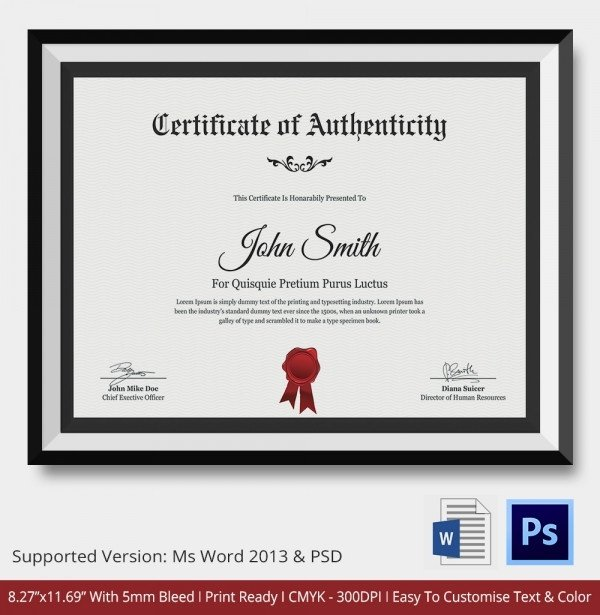 Certificate Of Authenticity Autograph Template Certificate Of Authenticity Template 27 Free Word Pdf