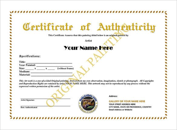 Certificate Of Authenticity Autograph Template Certificate Of Authenticity Template Certificate