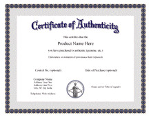 Certificate Of Authenticity Autograph Template Free Printable Certificate Of Authentication Templates