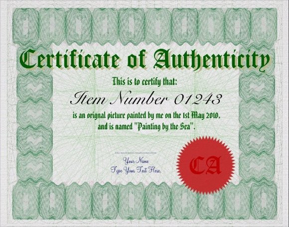 Certificate Of Authenticity Autograph Template Sample Certificate Of Authenticity Template 36