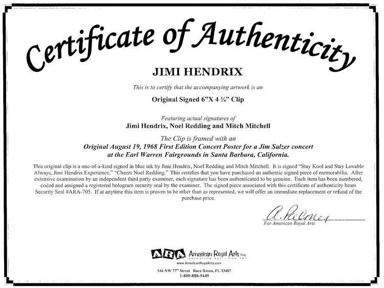 Certificate Of Authenticity Autograph Template the Jimi Hendrix Experience Courtesy Of American Royal