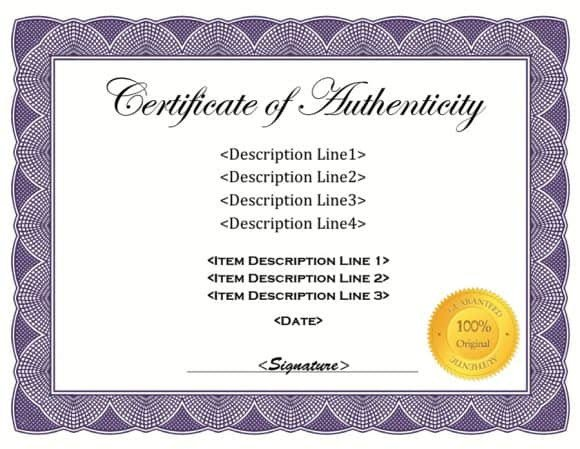 Certificate Of Authenticity Template 37 Certificate Of Authenticity Templates Art Car