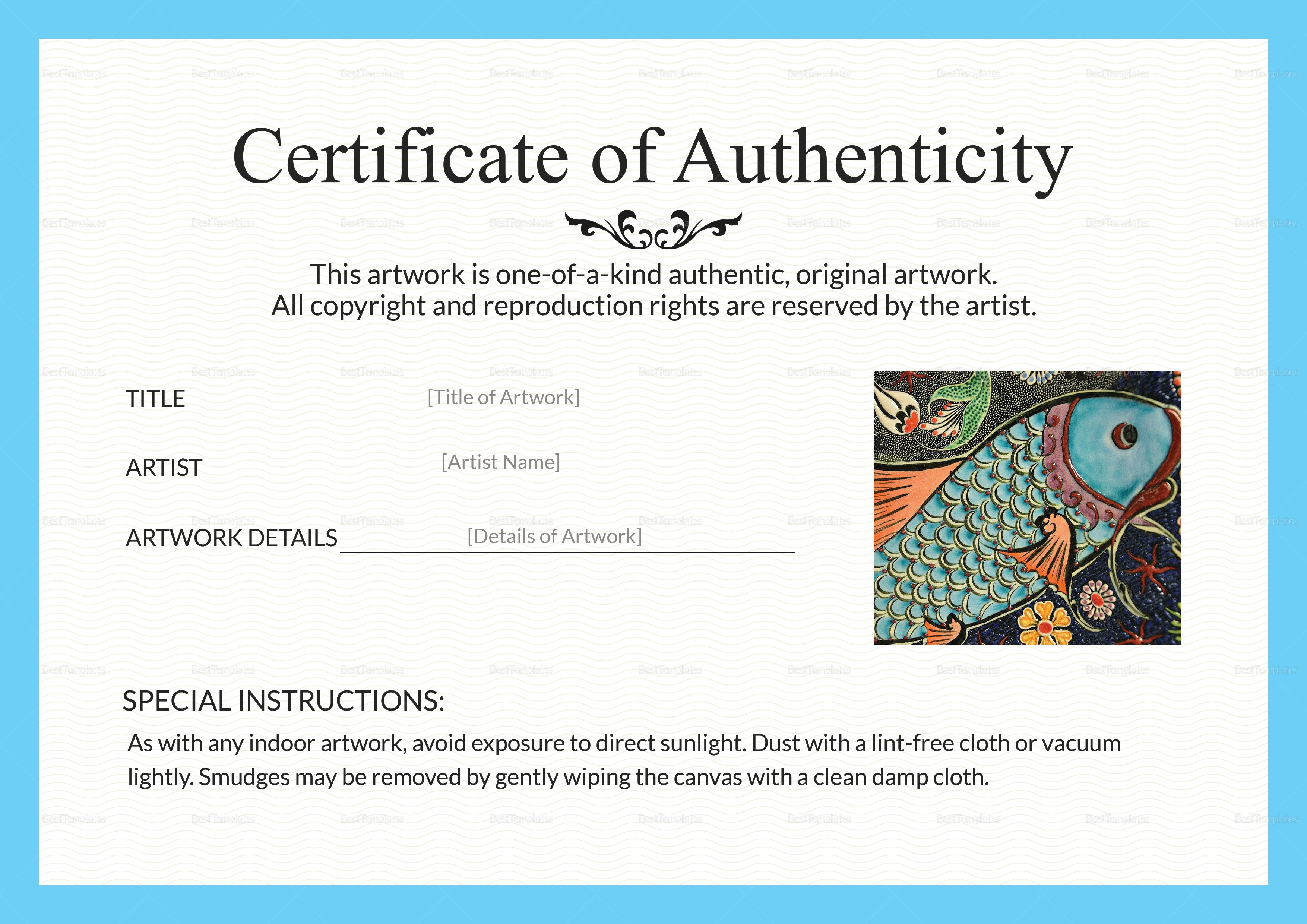 Certificate Of Authenticity Template Artwork Authenticity Certificate Design Template In Psd Word