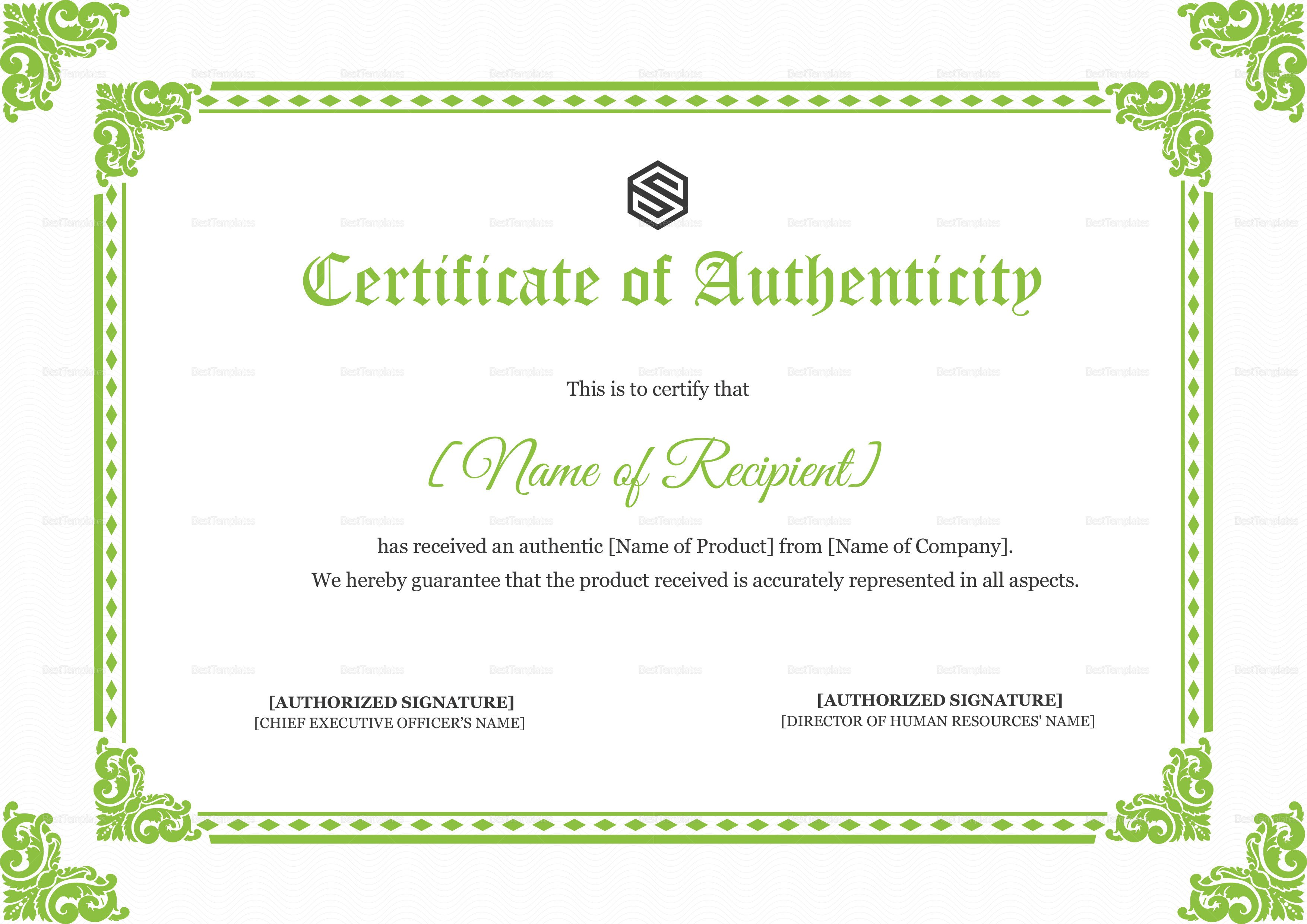 Certificate Of Authenticity Template Certificate Of Authenticity Design Template In Psd Word