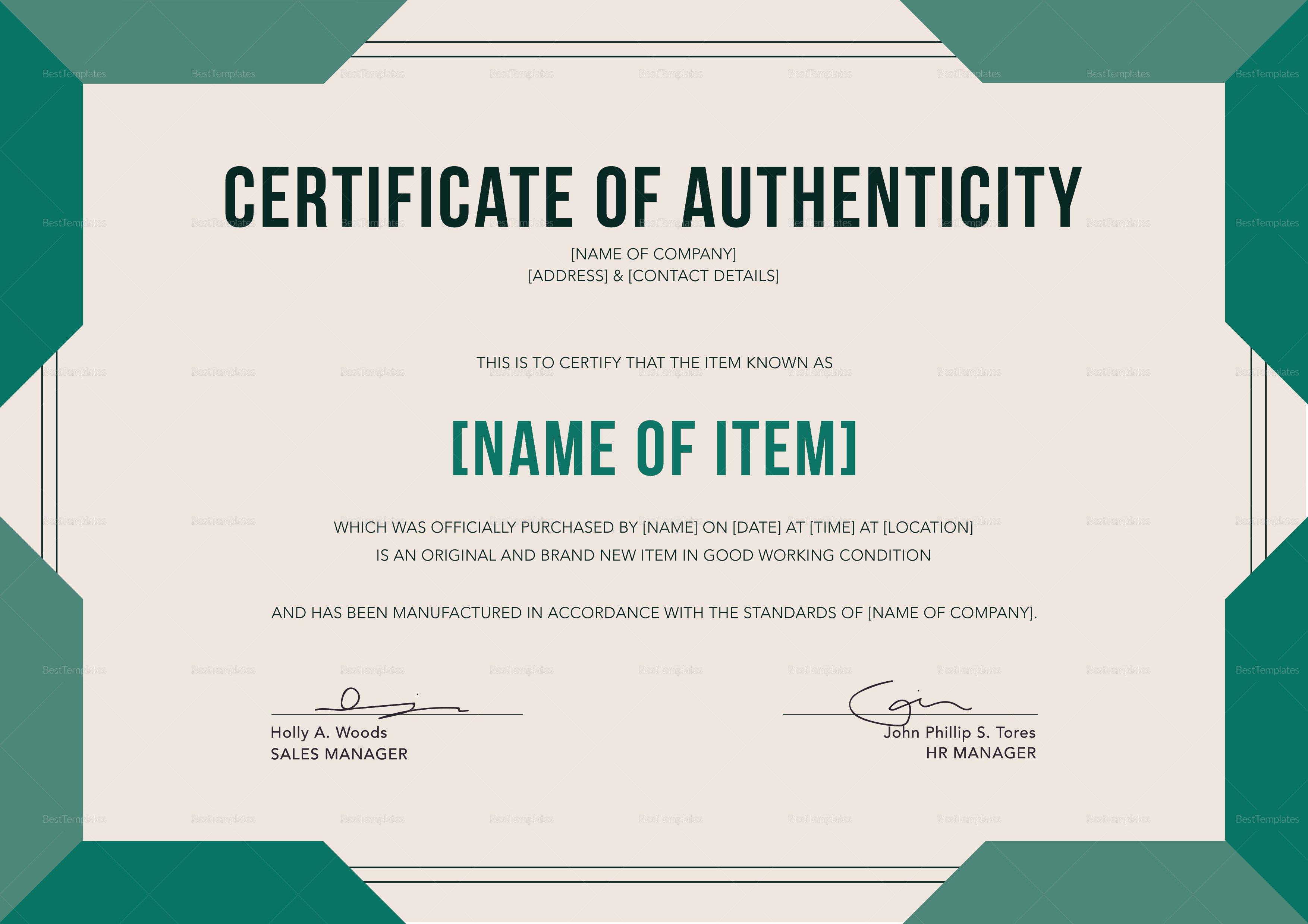 Certificate Of Authenticity Template Elegant Certificate Of Authenticity Design Template In Psd