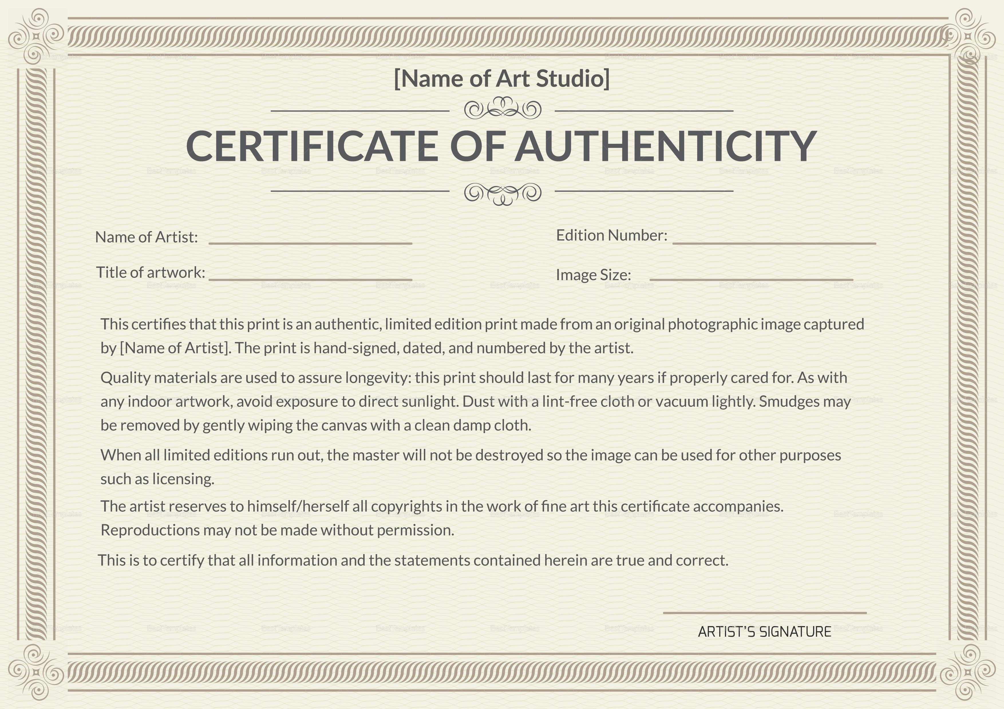 Certificate Of Authenticity Template Printable Authenticity Certificate Design Template In Psd