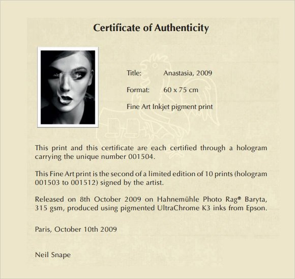Certificate Of Authenticity Template Sample Certificate Of Authenticity Template 36