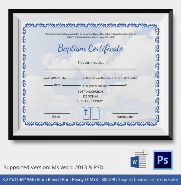 Certificate Of Baptism Template 18 Sample Baptism Certificate Templates Free Sample