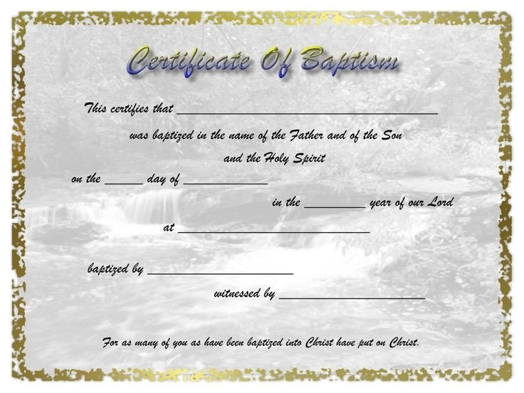 Certificate Of Baptism Template Adult Baptism Certificate Template