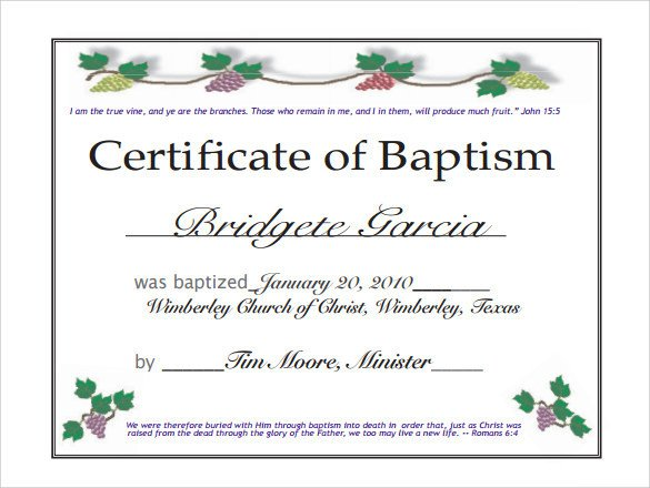 Certificate Of Baptism Template Baptism Certificate 14 Free Samples Examples format