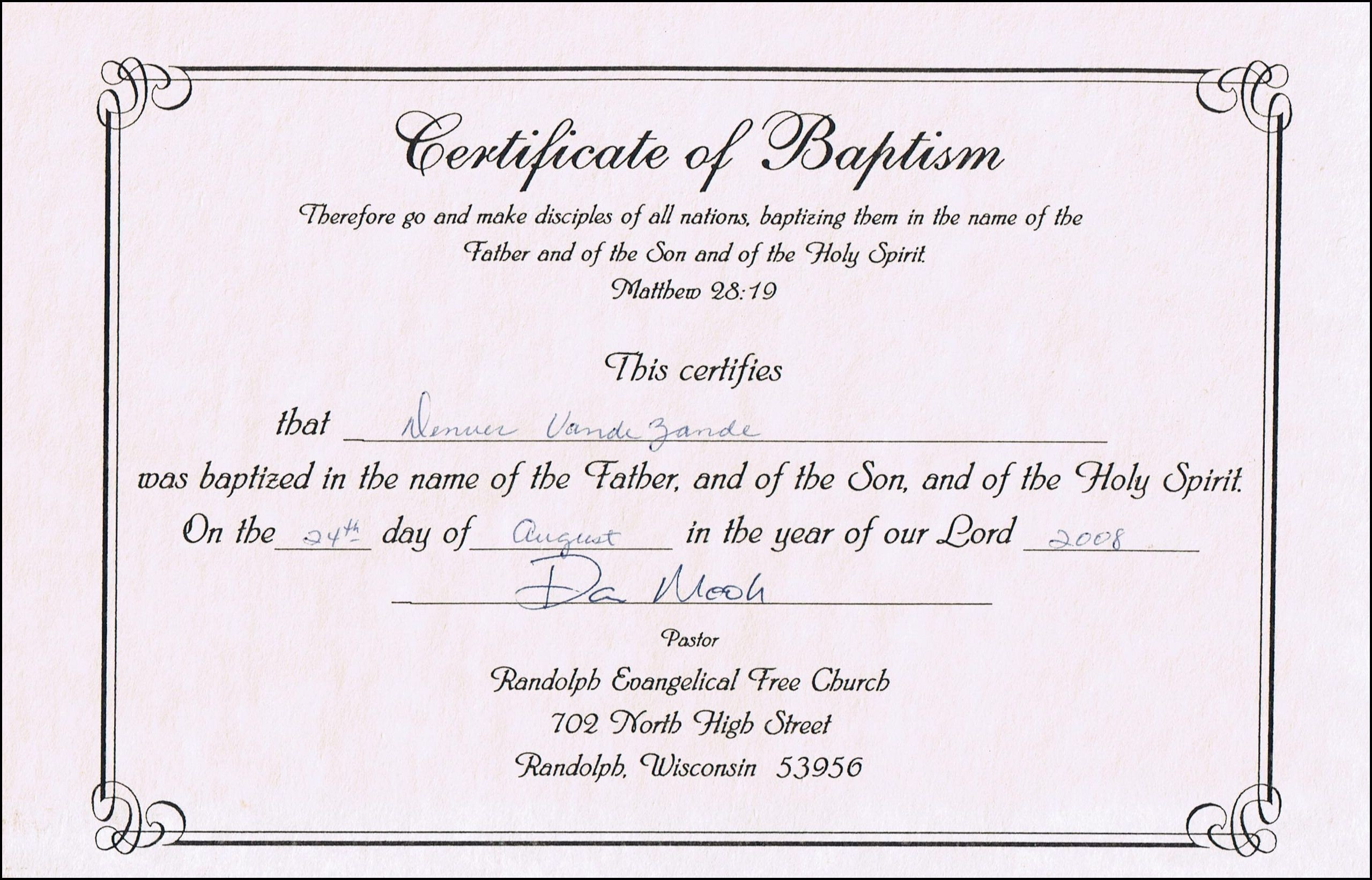 Certificate Of Baptism Template Baptism Certificate Templates for Word