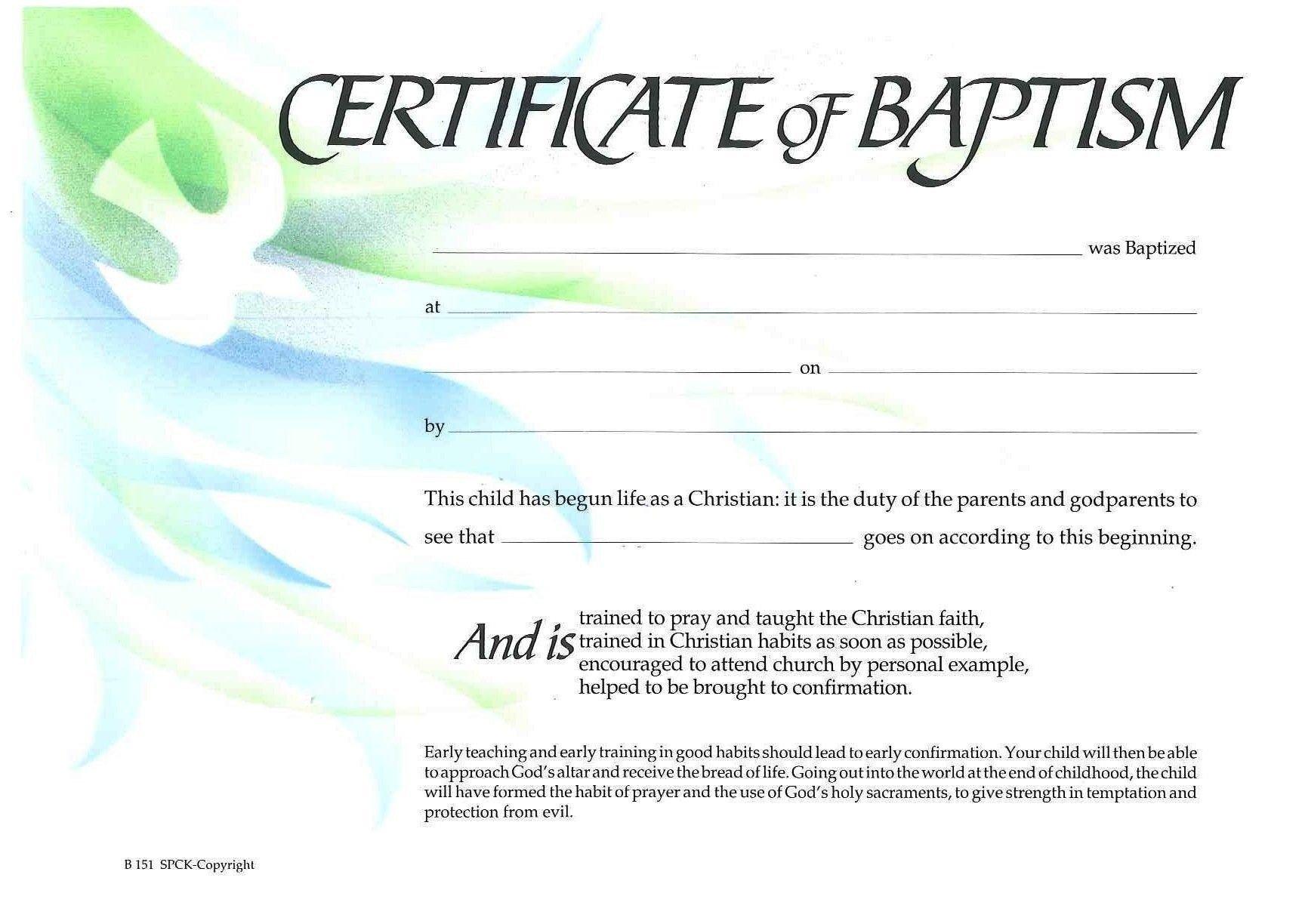 Certificate Of Baptism Template Baptism Certificate Xp4eamuz Sunday School
