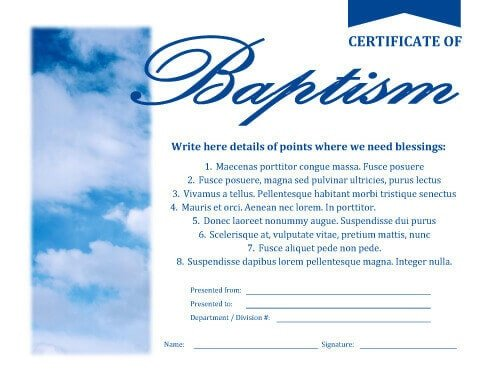 Certificate Of Baptism Template Free Downloadable Fake Certificate Templates