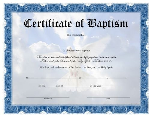 Certificate Of Baptism Template Free Printable Baptism Certificate