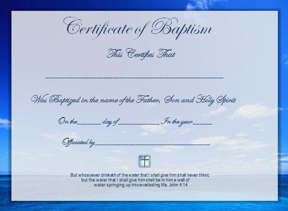 Certificate Of Baptism Template Word Certificate Template 49 Free Download Samples