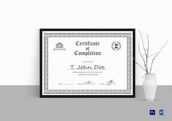 Certificate Of Completion Template Pdf Certificate Of Pletion 25 Free Word Pdf Psd
