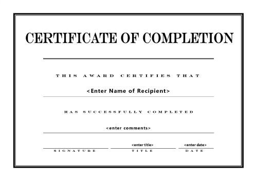 Certificate Of Completion Template Pdf Doc Pdf Training Certificate Of Pletion