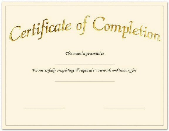 Certificate Of Completion Template Pdf Fill In Certificate Templates to Pin On Pinterest