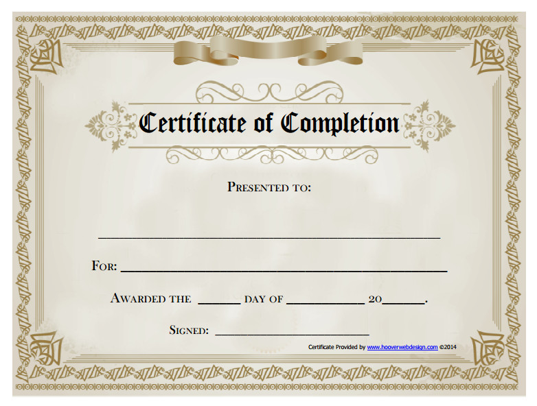 Certificate Of Completion Template Word 18 Free Certificate Of Pletion Templates