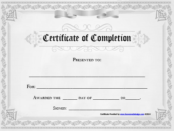 Certificate Of Completion Template Word 20 Free Certificate Of Pletion Template [word Excel Pdf]