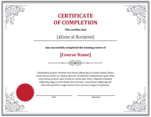 Certificate Of Completion Template Word 7 Certificates Of Pletion Templates [free Download]