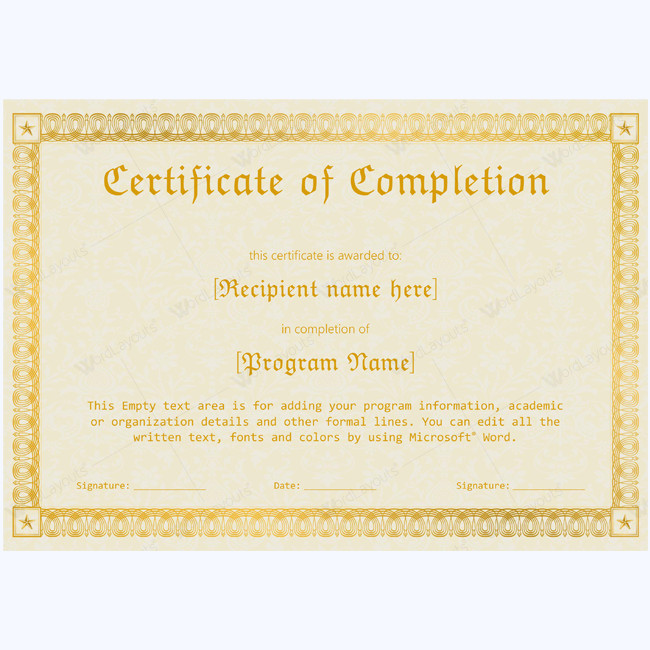 Certificate Of Completion Template Word 89 Elegant Award Certificates for Business and School events