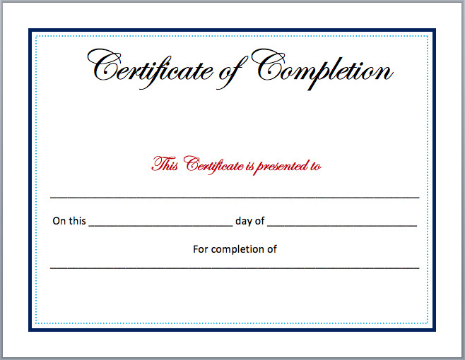 Certificate Of Completion Template Word Pletion Certificate Template Microsoft Word Templates