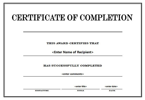 Certificate Of Completion Template Word Printable Certificates Of Pletion