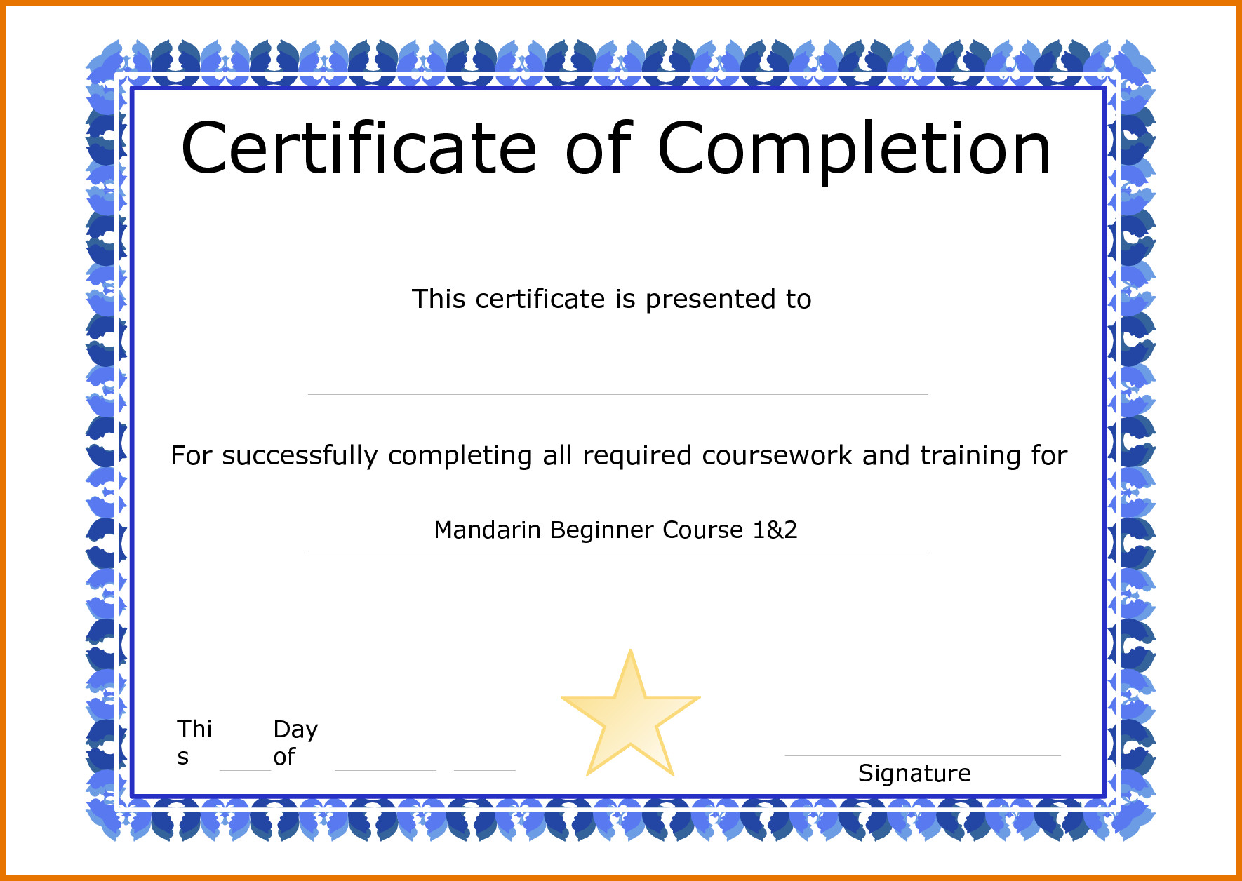 Certificate Of Completion Template Word Sample Certificate Pletion