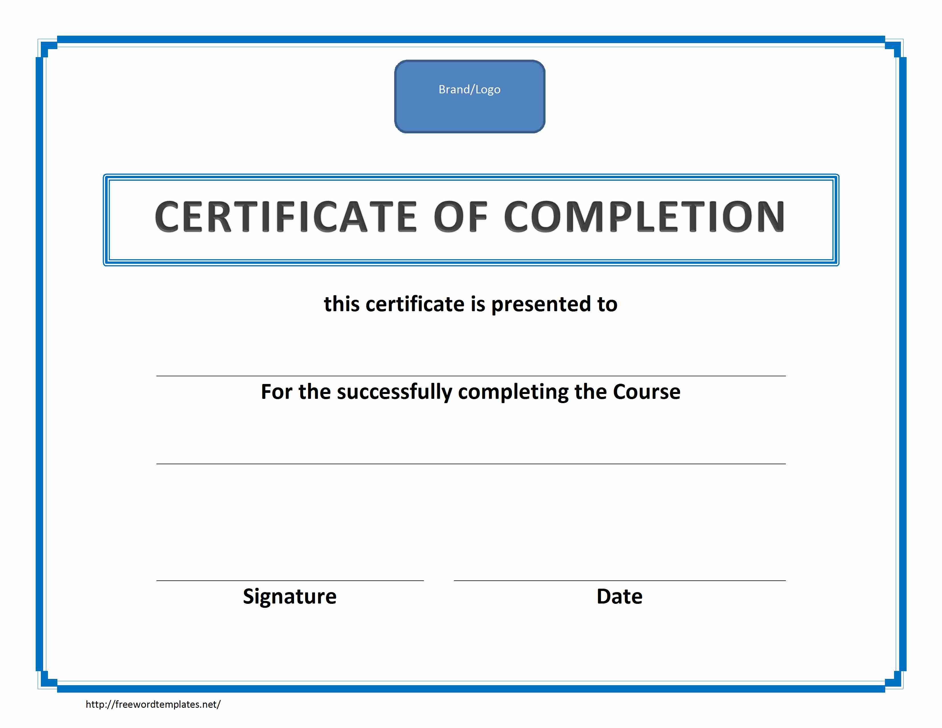 Certificate Of Completion Template Word Training Certificate Of Pletion