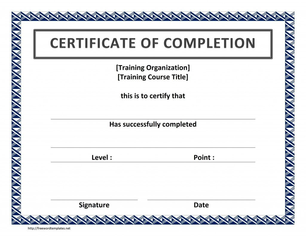Certificate Of Completion Template Word Training Certificate Template