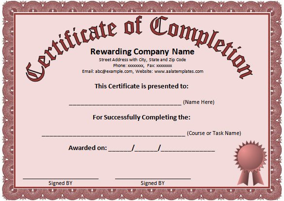 Certificate Of Completion Template Word Word Certificate Template 49 Free Download Samples