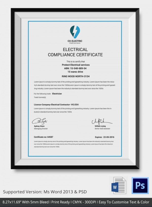Certificate Of Compliance Template Certificate Of Pliance Template – 12 Word Pdf Psd