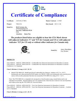 Certificate Of Compliance Template Gasalertmicroclip Series Certificate Of Pliance