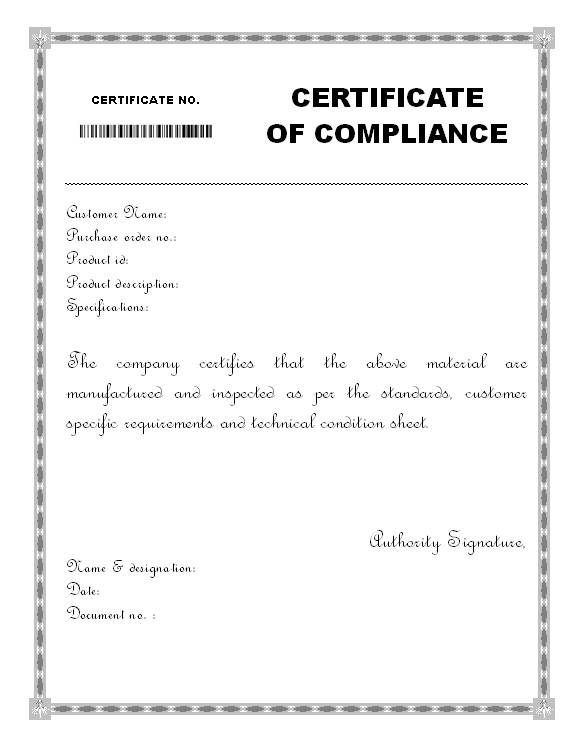 Certificate Of Compliance Template Material Certificate Of Pliance form