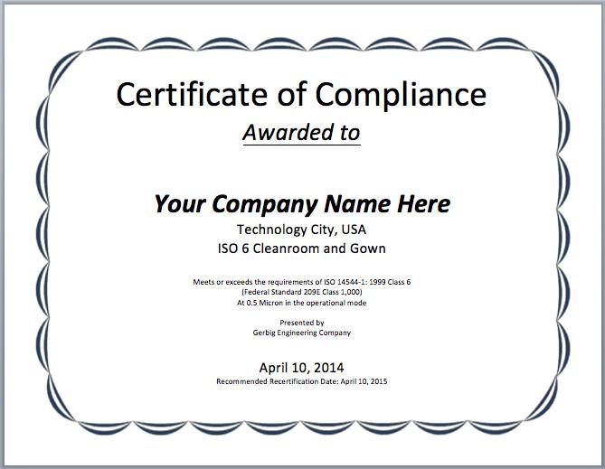 Certificate Of Compliance Template Pliance Certificate Template Microsoft Word Templates