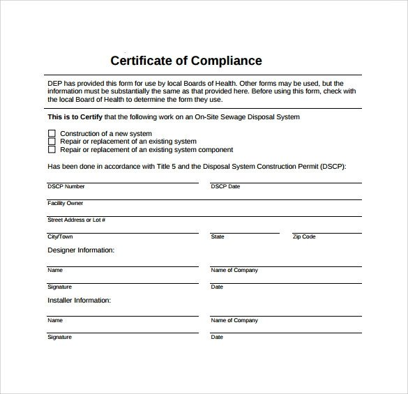 Certificate Of Compliance Template Sample Certificate Of Pliance 16 Documents In Pdf
