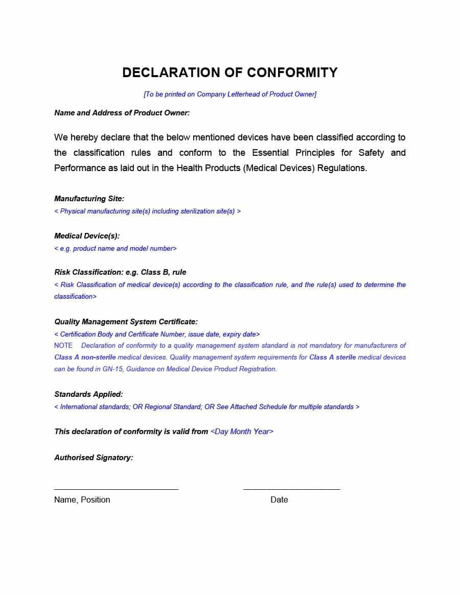 Certificate Of Conformance Template 40 Free Certificate Of Conformance Templates & forms