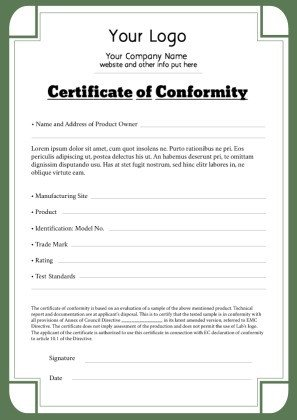 Certificate Of Conformance Template Free Certificate Templates