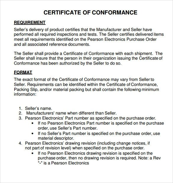 Certificate Of Conformance Template Sample Certificate Of Conformance 21 Documents In Pdf