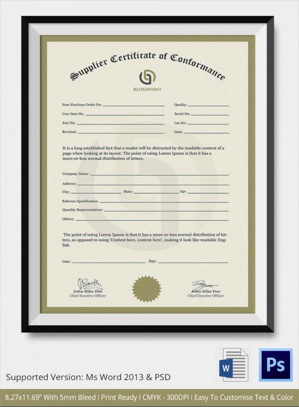 Certificate Of Conformance Template Sample Certificate Of Conformance 21 Documents In Pdf